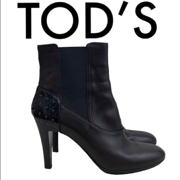 Tod's Shoes - TOD'S BLACK BROWN HEELED BOOTIES SIZE 8